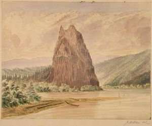 Cascades of the Columbia River James Alden Madison 1857 1862 McLeods Castle or Castle Rock