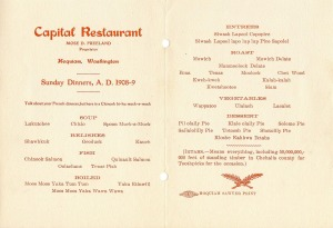 Hoquiam menu ca. 1908 -- needs a Chinook Jargon translator