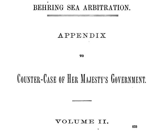 behring sea arbitration appendix