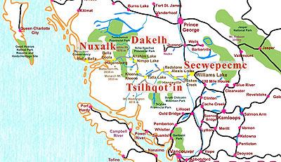 Dakelh Chilcotin map