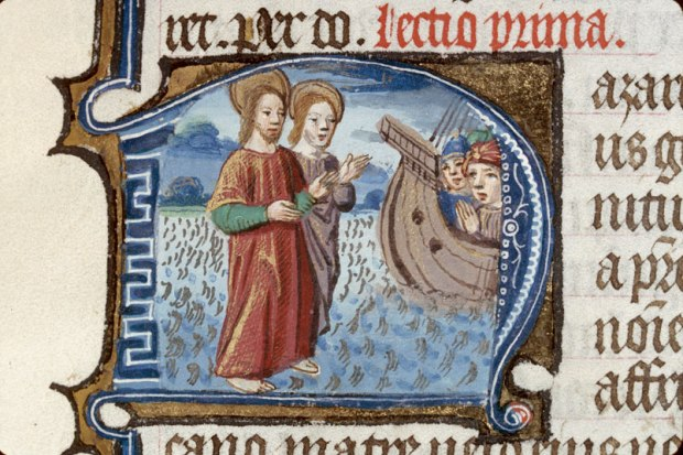 Nazarius and Celsus walking on the sea - Clermont-Ferrand - BM - ms. 0069, f.486, Roman breviary, c.1482 (enluminures)