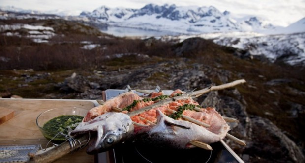 spit roasted salmon