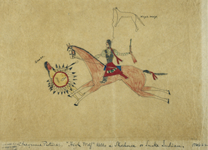 Pictograph drawn by Cheyenne Indian collected circa 1894, recorded 1897, dimension- 25cmHx33.8cmW, Acc.#- 31963, #GA 08113