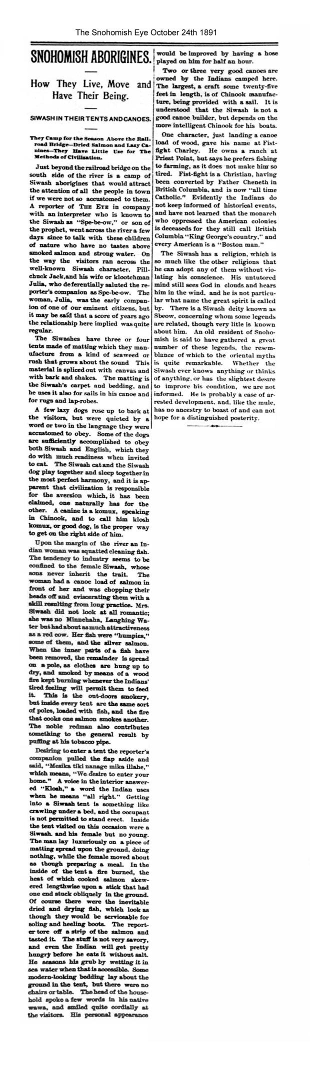Pilchuck jack and julia siwash Snohomish Eye oct 24 1891