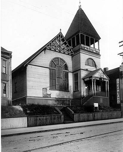 AOUW Old_church,_7th_Ave_between_Pike_St_and_Union_St,_used_as_Columbia_Lodge_of_the_Ancient_Order_of_United_Workmen,_(AOUW),_Seattle_(CURTIS_1687)