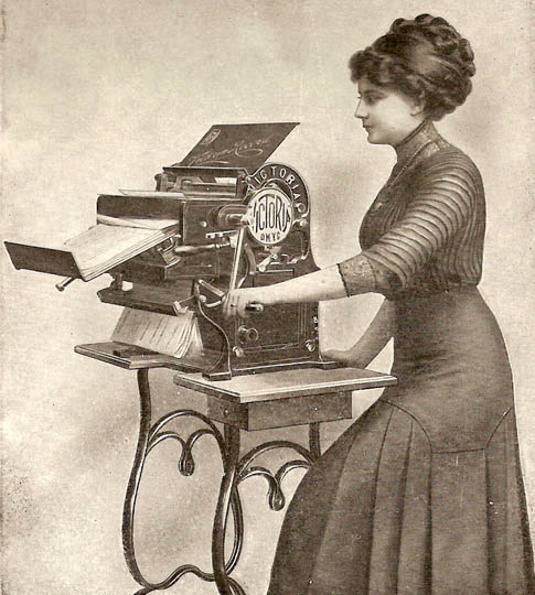 woman and copying machine