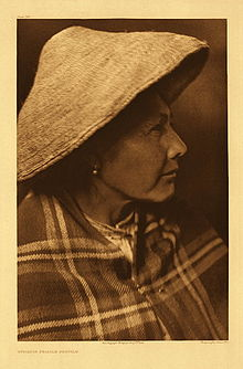 Quinault female profile by Edward S Curtis