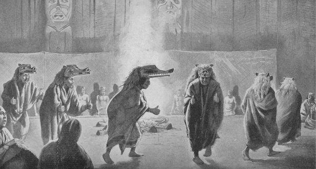 Dancing around a fire on Vancouver Island, Kwakwaka'wakw version (image source: Cambridge Core)